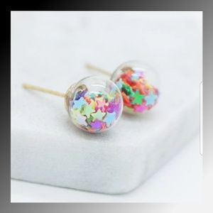 Jewelry - 💜Glass Ball Star Filled Stud Earrings